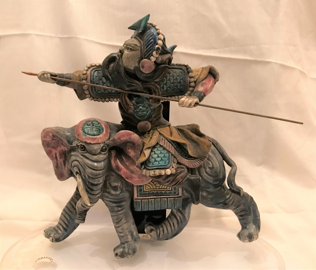 A Chinese figure Of Soldier Ride Elephant