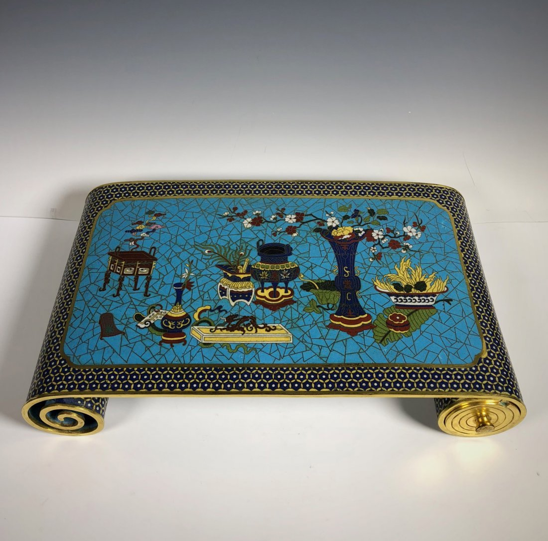 A Cloisonne Enamel Scroll-Form Stand