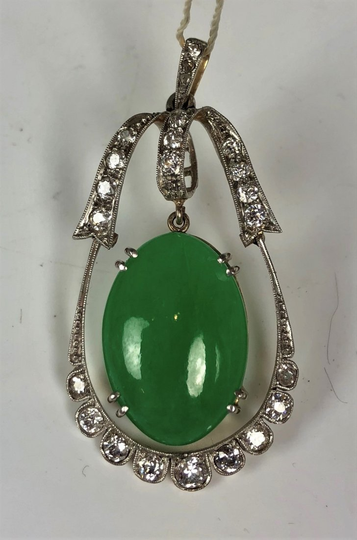 Vintage 14k/plat Jadeite Pendant With Diamonds