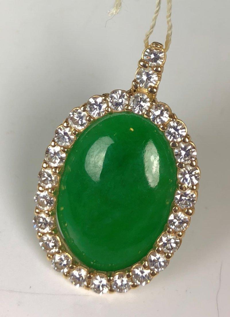 Vintage 18k Jadeite Pendant With Diamonds & GIA