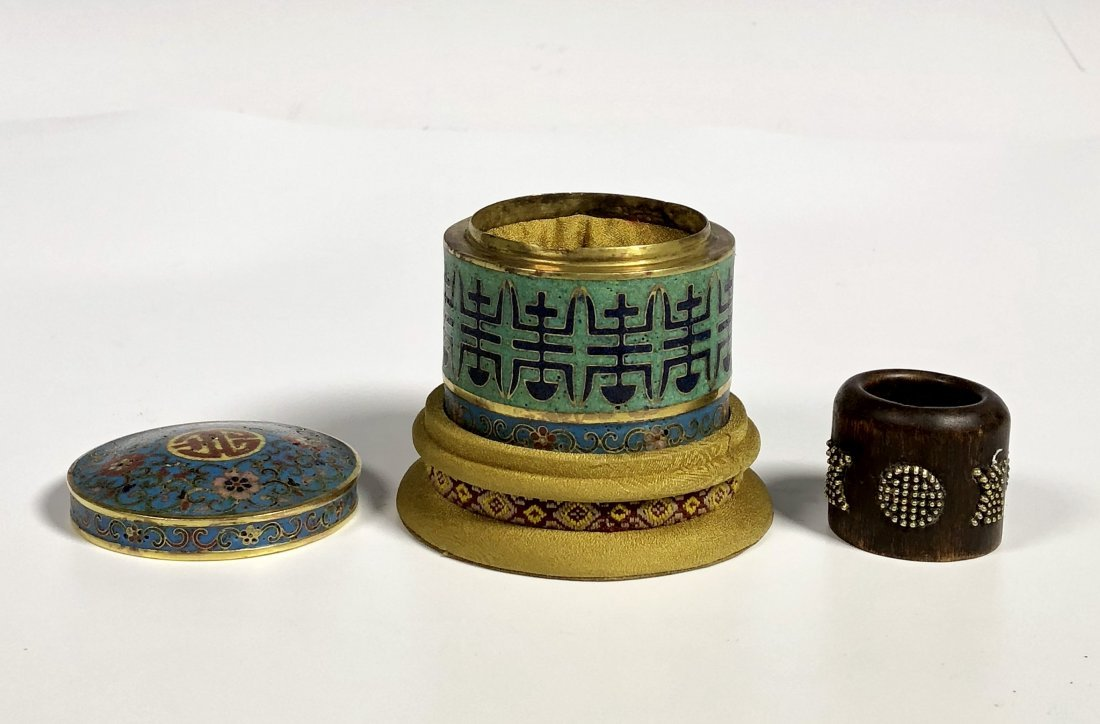 Aloes Wood Ring & Cloisonne Enamel Box With Mark