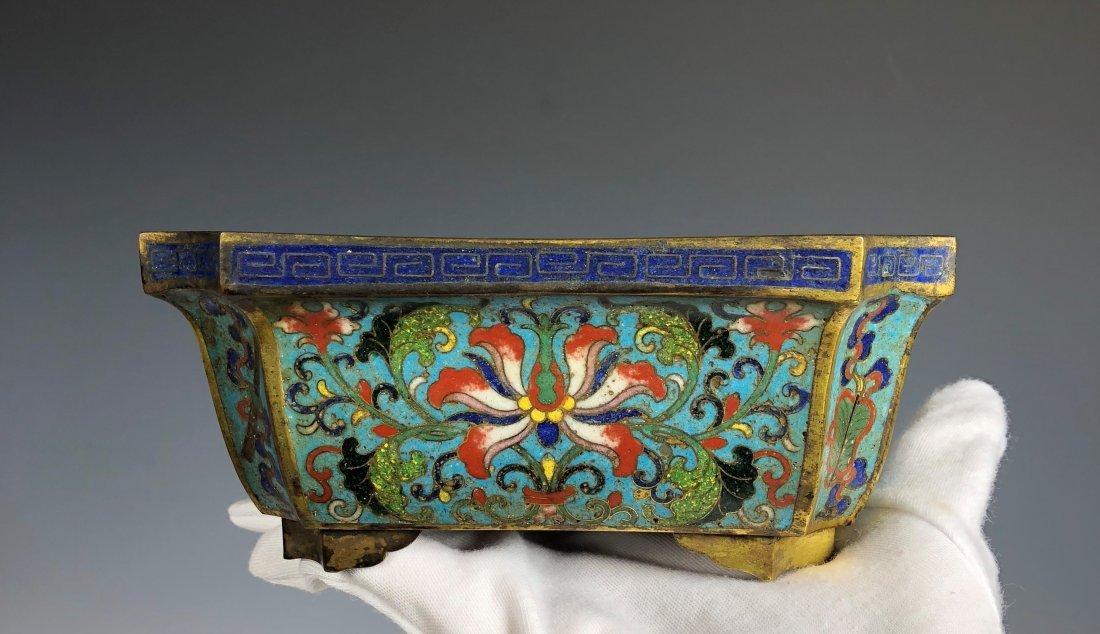 Chinese Cloisonne Enamel And Gilt Bronze Flower Pot