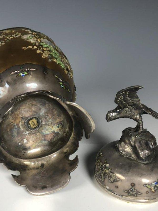 Signed Japanese Enemeled Silver Shibayama Koro Vase - 10
