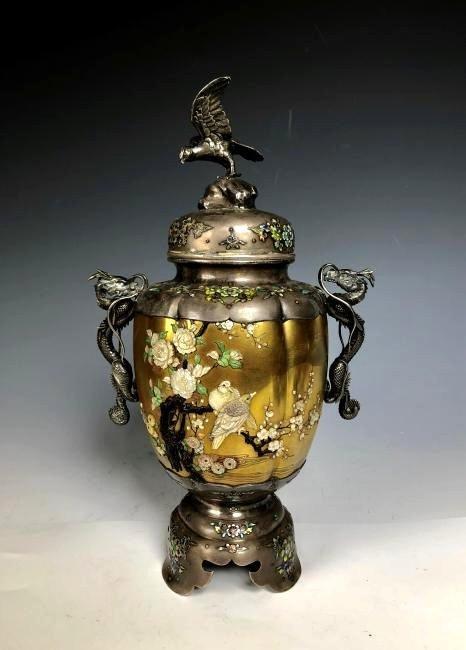 Signed Japanese Enemeled Silver Shibayama Koro Vase