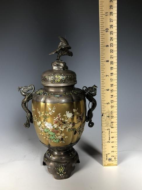 Signed Japanese Enemeled Silver Shibayama Koro Vase - 4