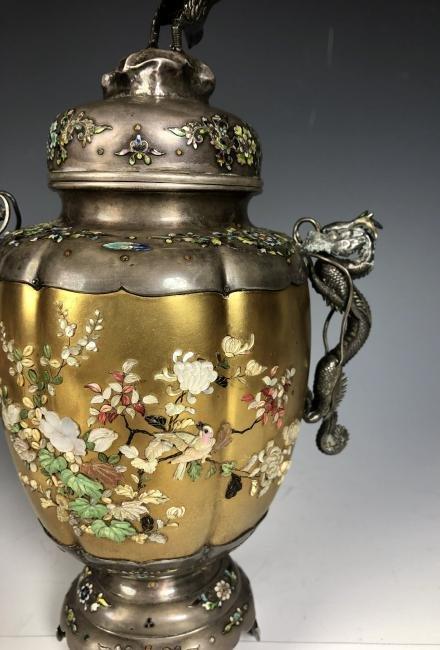 Signed Japanese Enemeled Silver Shibayama Koro Vase - 5