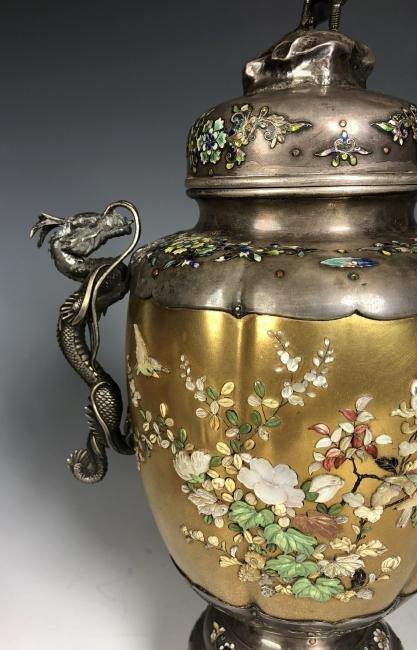 Signed Japanese Enemeled Silver Shibayama Koro Vase - 6
