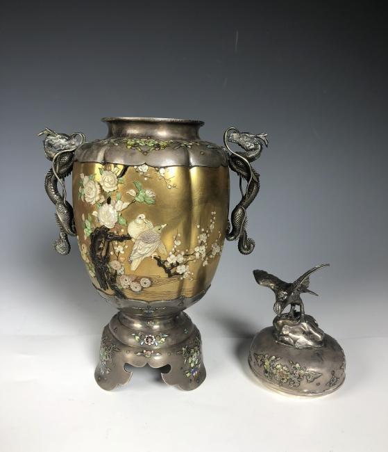 Signed Japanese Enemeled Silver Shibayama Koro Vase - 7