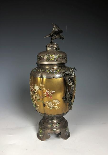 Signed Japanese Enemeled Silver Shibayama Koro Vase - 8