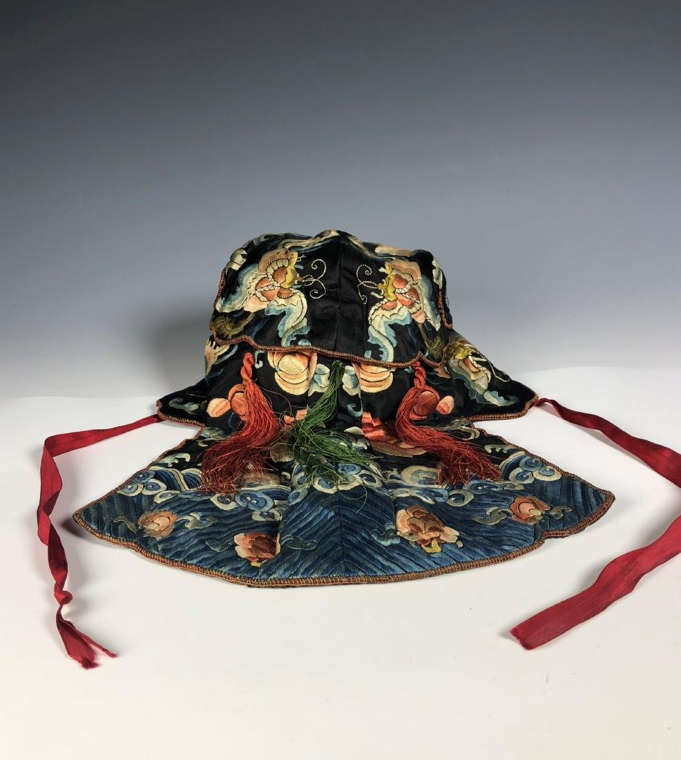 A Chinese Silk Embroidered Hat - 4