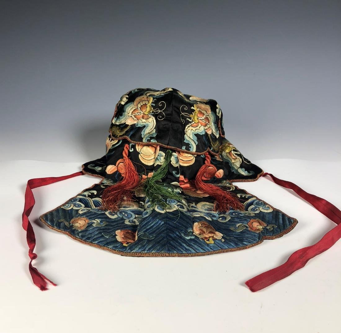 A Chinese Silk Embroidered Hat - 5