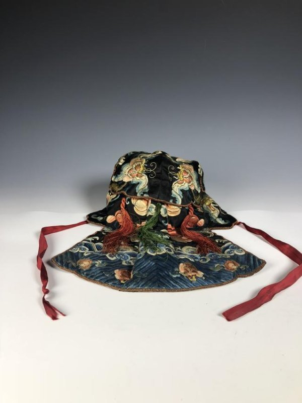 A Chinese Silk Embroidered Hat - 6