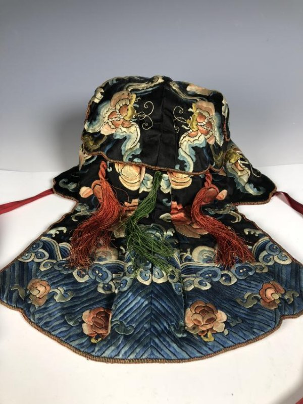 A Chinese Silk Embroidered Hat - 7