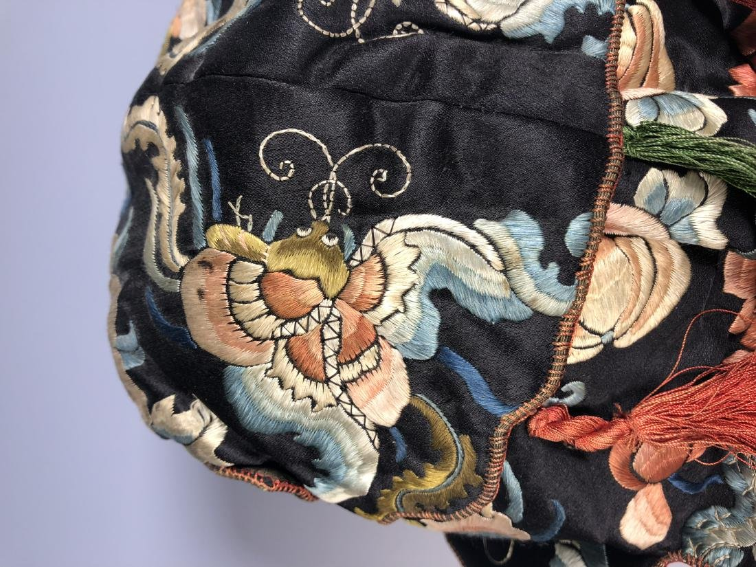 A Chinese Silk Embroidered Hat - 8