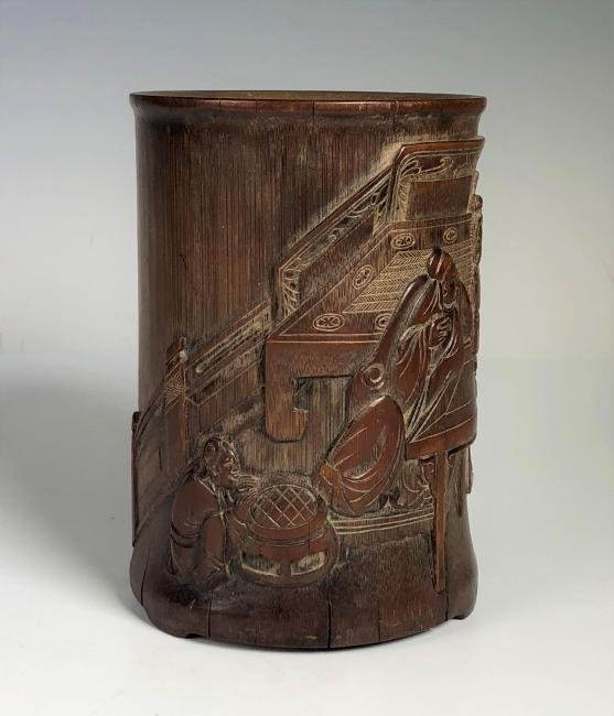 Carved Bamboo Brush Pot - 11