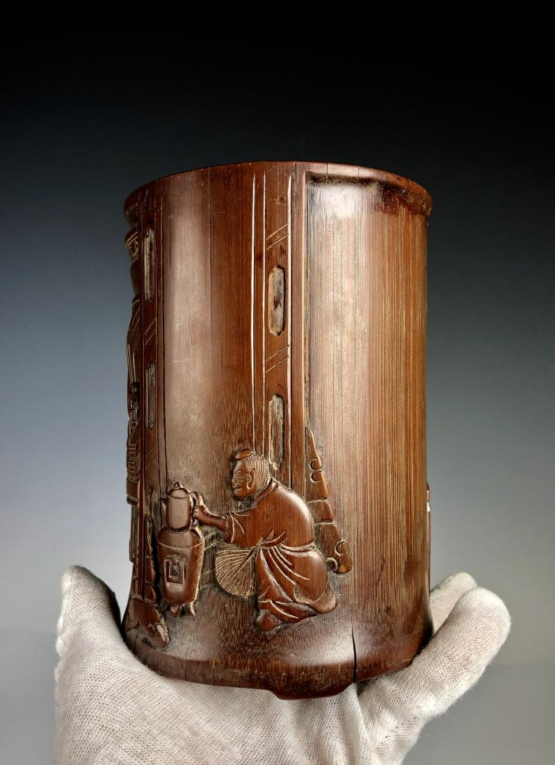 Carved Bamboo Brush Pot - 3