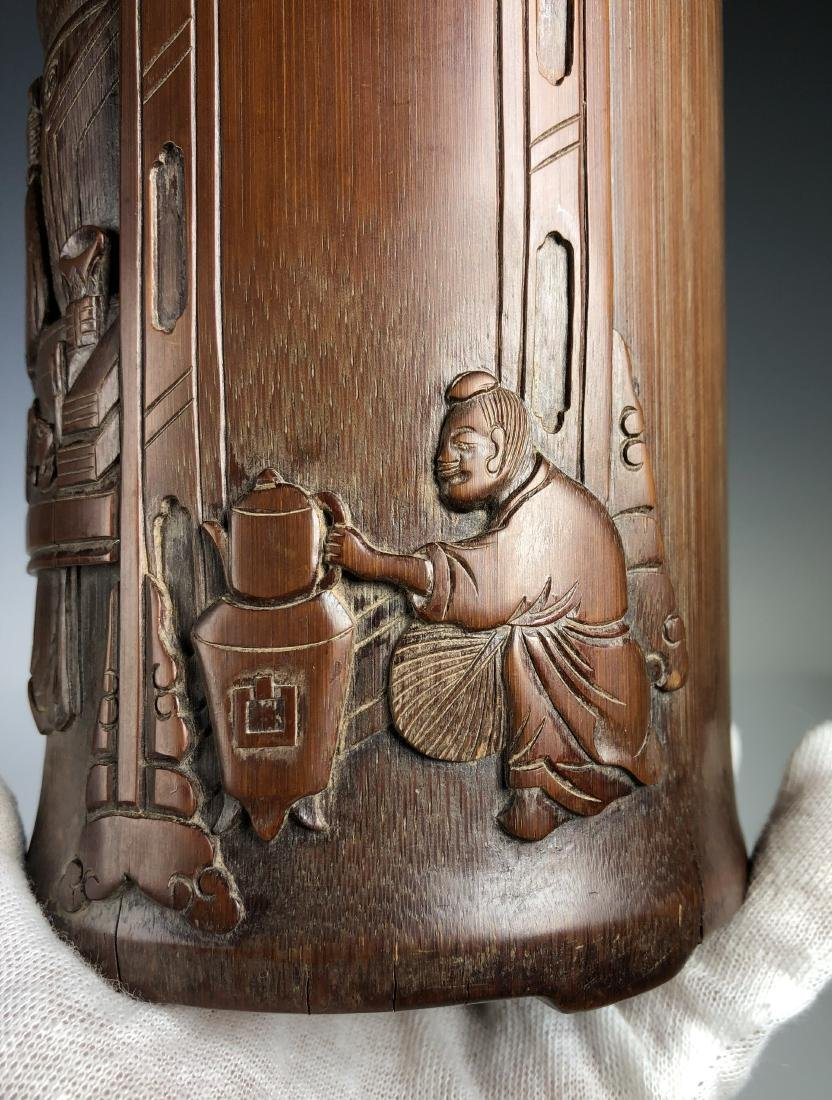Carved Bamboo Brush Pot - 4
