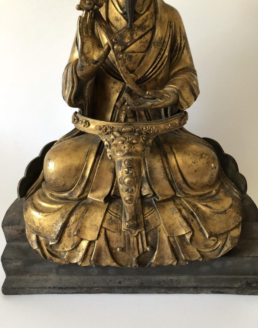 A Rare Gilt Bronze Taoist Figure Holding A Ruyi - 2