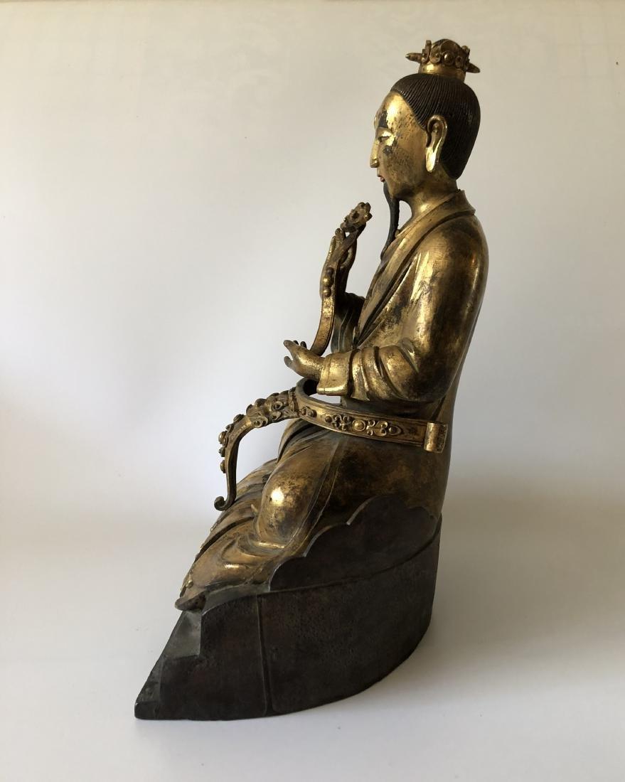 A Rare Gilt Bronze Taoist Figure Holding A Ruyi - 4
