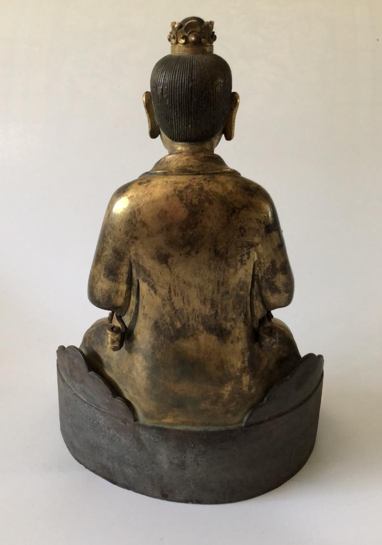 A Rare Gilt Bronze Taoist Figure Holding A Ruyi - 5