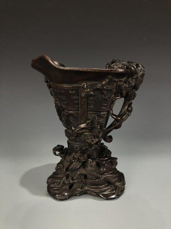 Chinese Agarwood Chen Xiang Libation Cup with Base