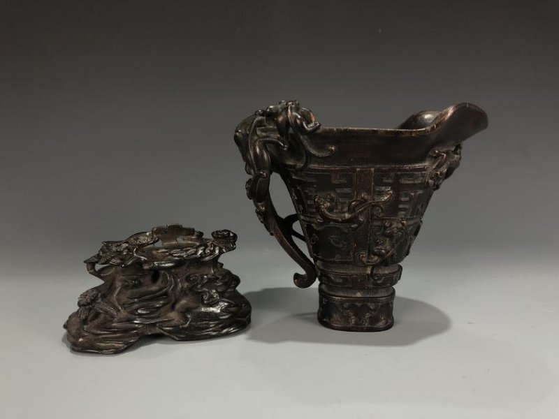 Chinese Agarwood Chen Xiang Libation Cup with Base - 2