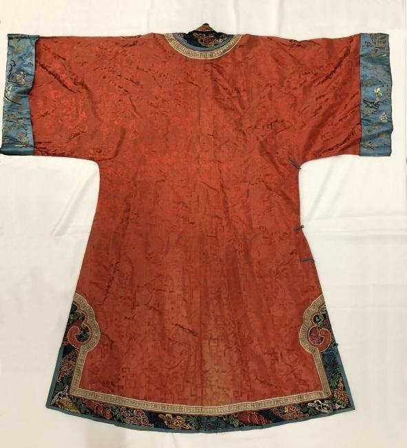 Chinese Embroidered Silk Robe - 6