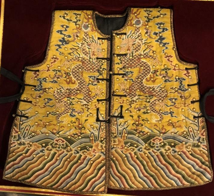 Very Rare Imperial Yellow Embroidered Dragon Robe/Armor - 3