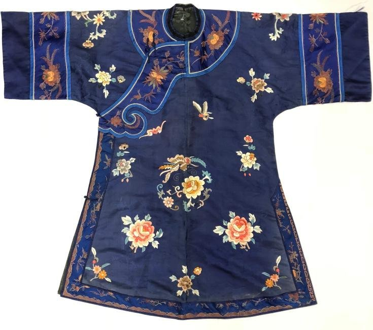Royal Blue Silk Robe with Floral Embroidery
