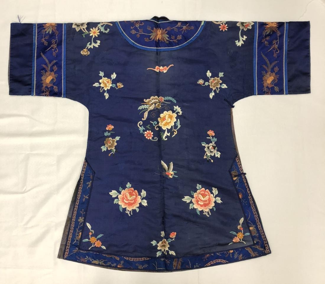 Royal Blue Silk Robe with Floral Embroidery - 2