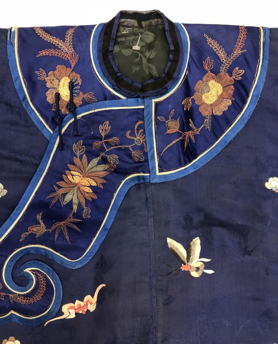 Royal Blue Silk Robe with Floral Embroidery - 3