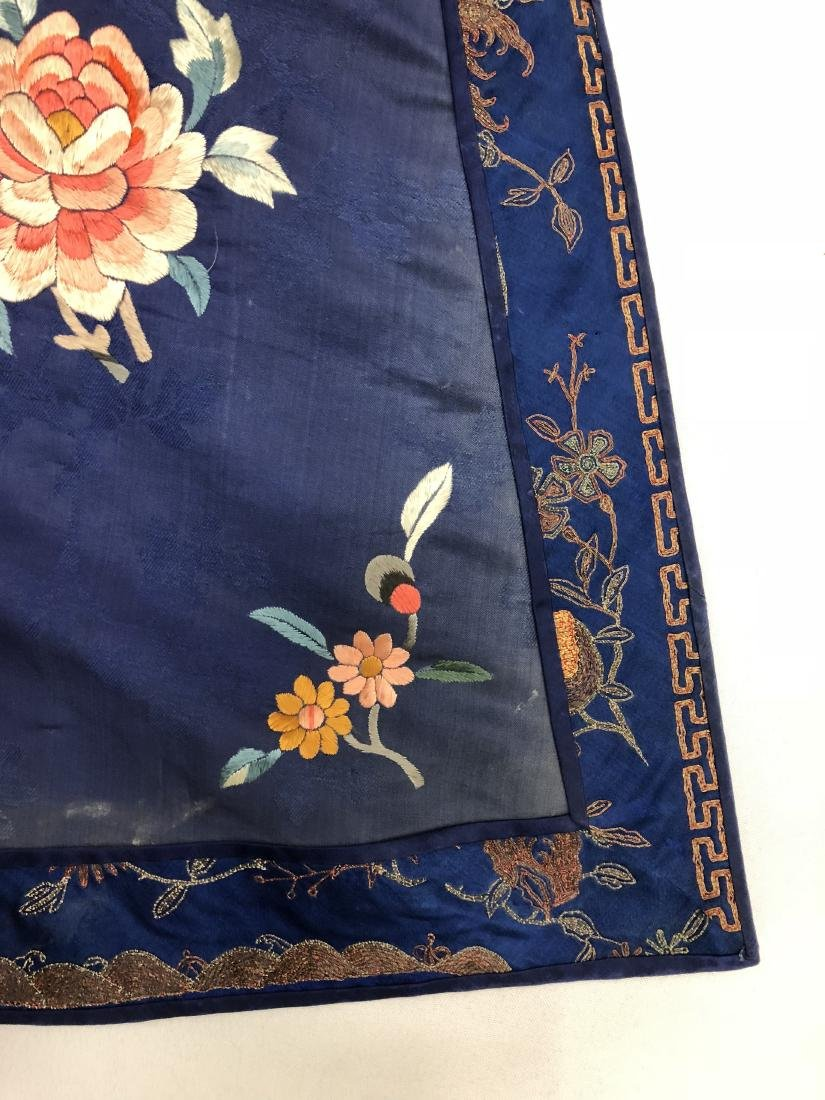 Royal Blue Silk Robe with Floral Embroidery - 5