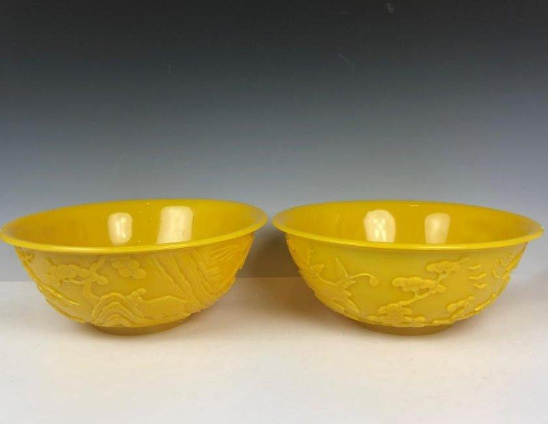 Pair of Large Peking Glass Bowls
