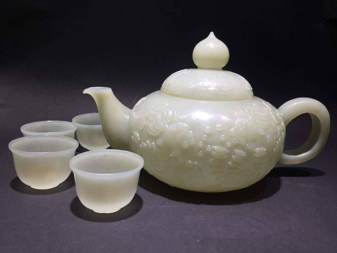 Carved White Jade Tea Pot with Four Cups - 12