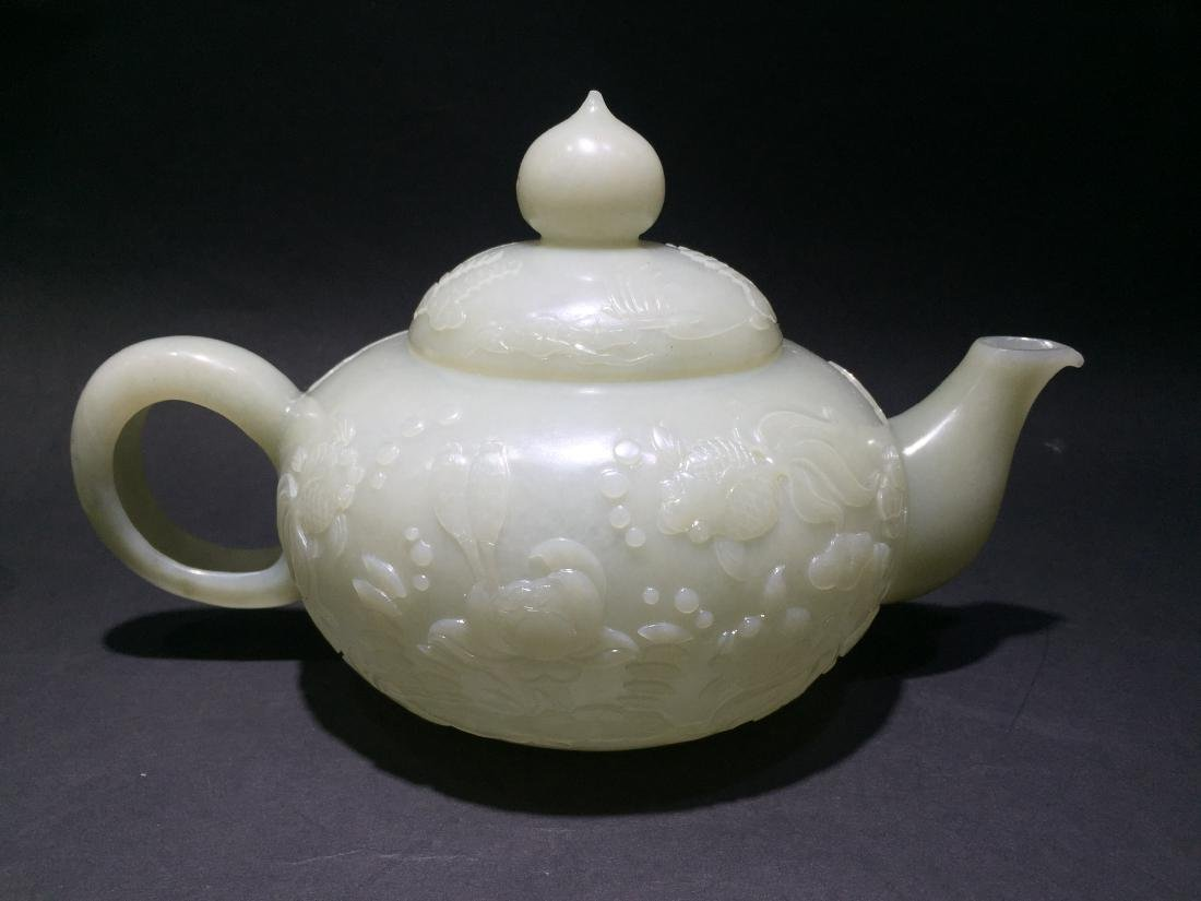 Carved White Jade Tea Pot with Four Cups - 13
