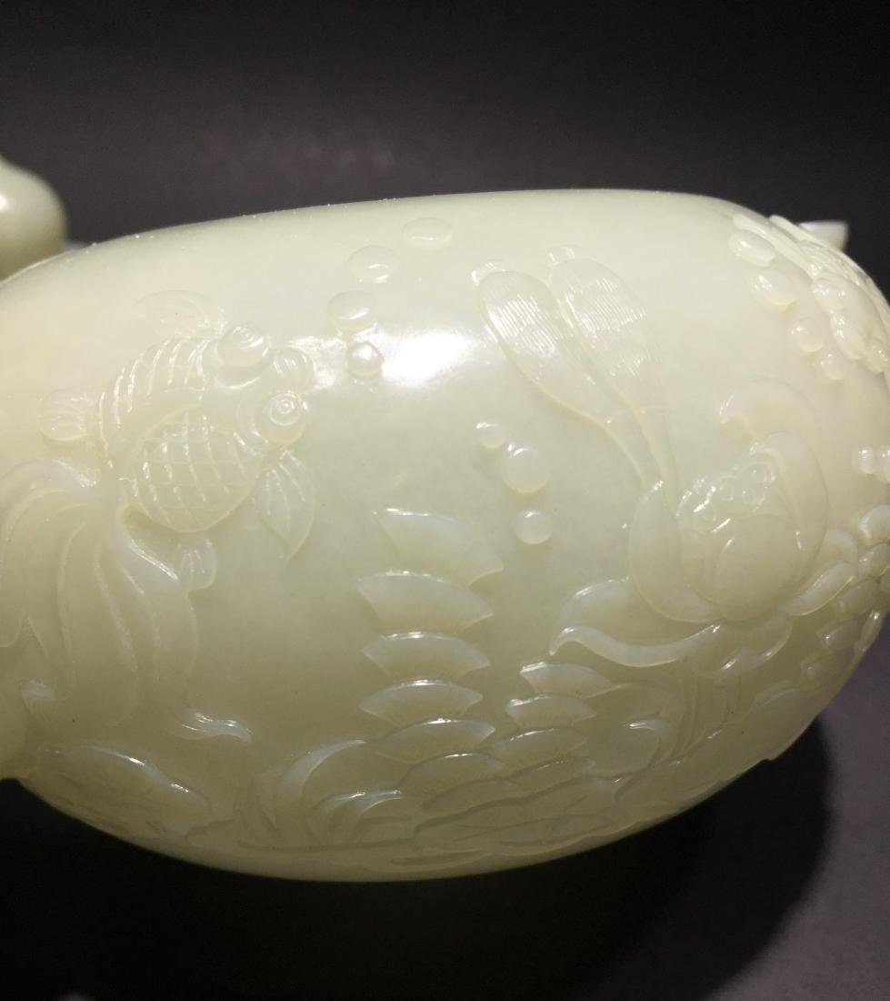 Carved White Jade Tea Pot with Four Cups - 14