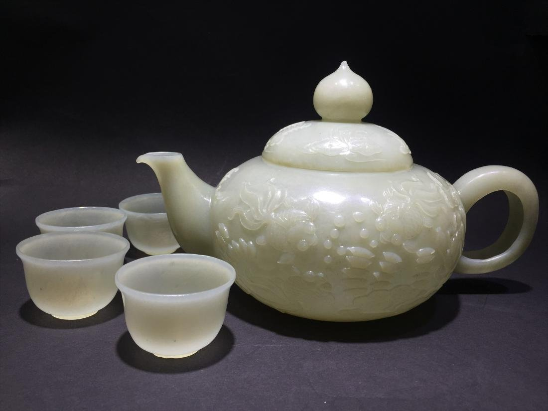 Carved White Jade Tea Pot with Four Cups