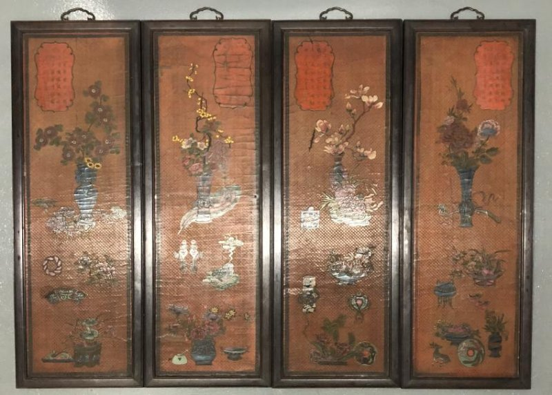 Four lacquerer Wood Panels with floral pattern