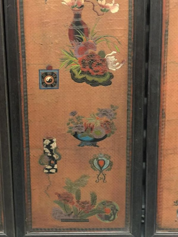 Four Lacquer Wood Panels with Floral Pattern - 4