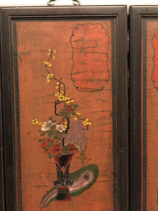 Four Lacquer Wood Panels with Floral Pattern - 5