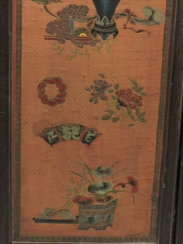 Four Lacquer Wood Panels with Floral Pattern - 6