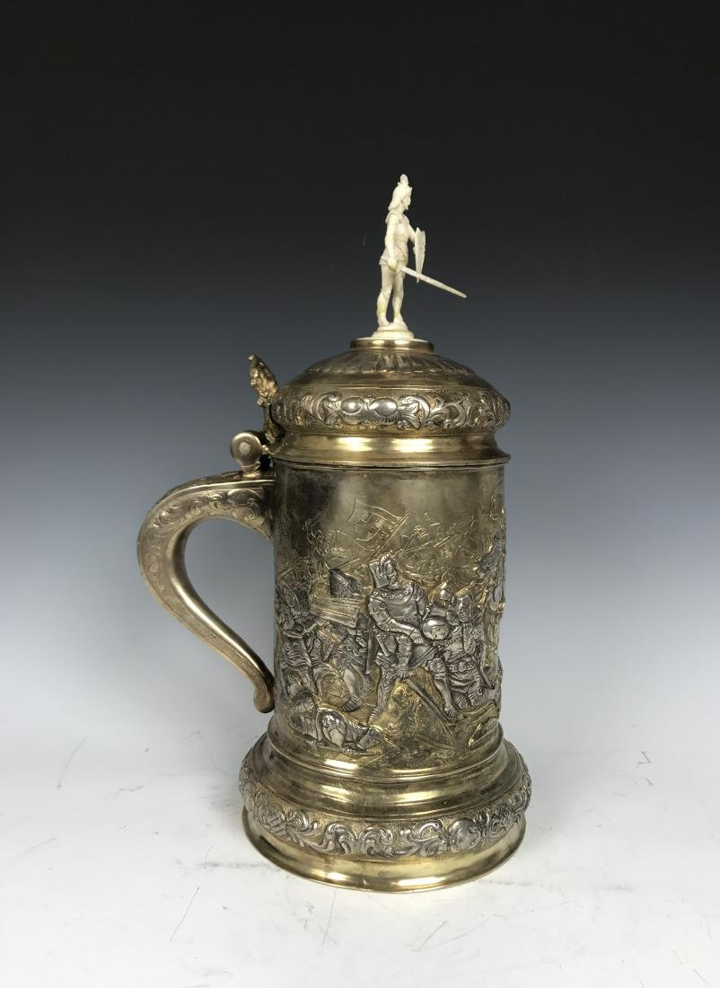 Russian silver Stein with Warrior Scene
