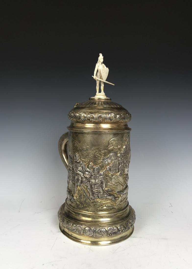 Russian silver Stein with Warrior Scene - 3
