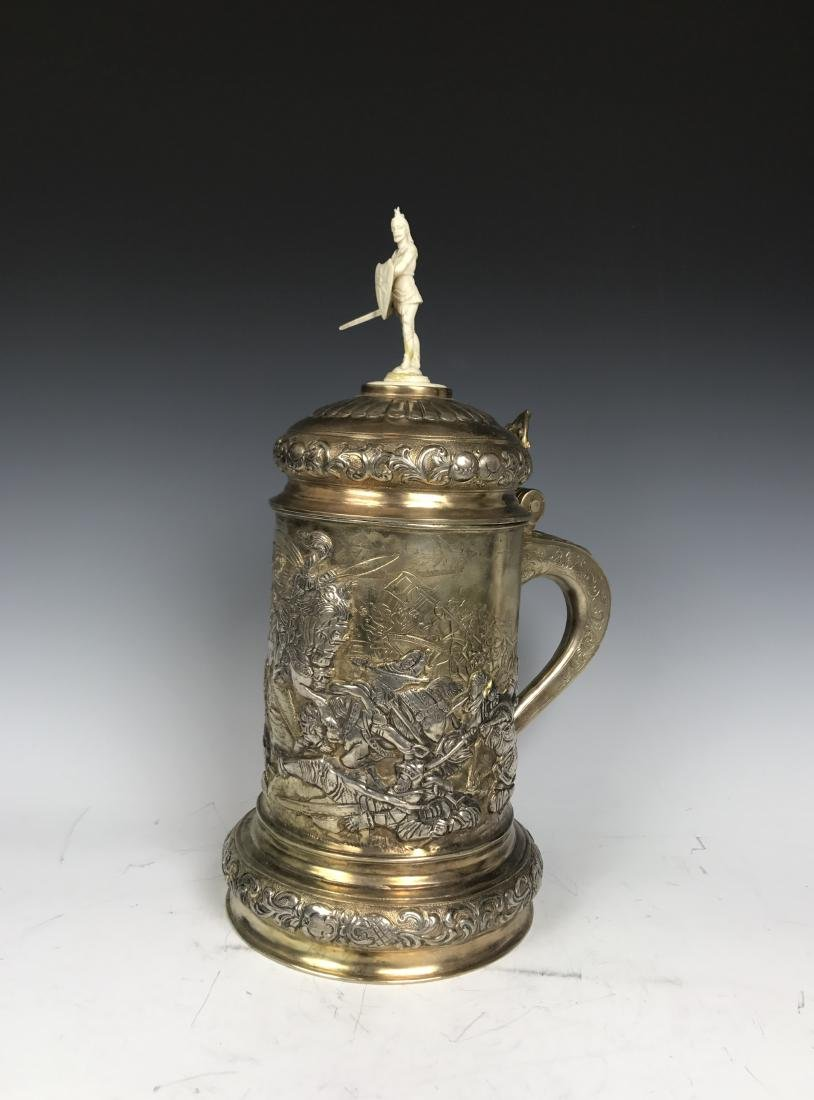 Russian silver Stein with Warrior Scene - 4
