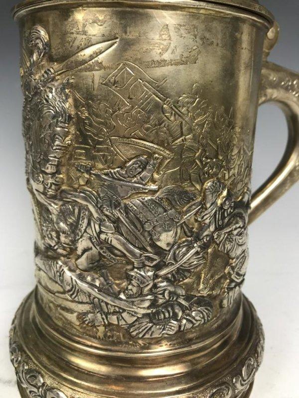 Russian silver Stein with Warrior Scene - 7