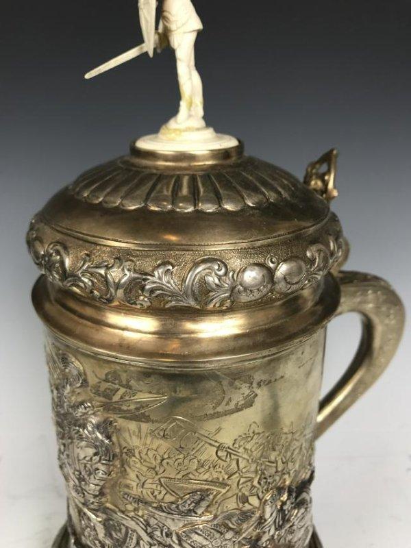 Russian silver Stein with Warrior Scene - 8