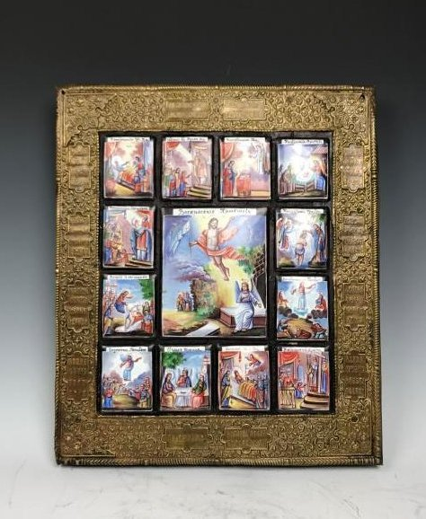 Russian Icon Panels In Metal Over Wood