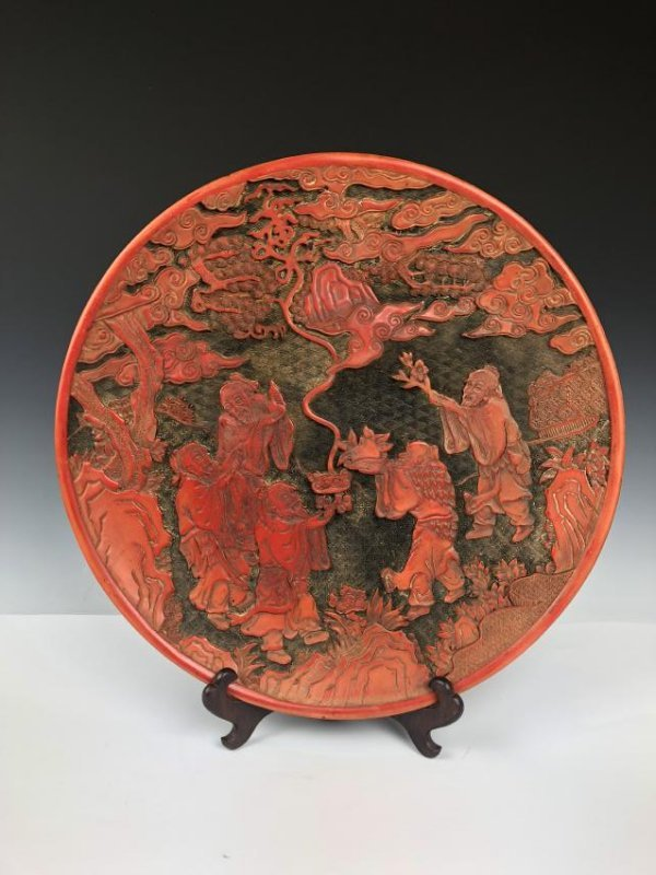 Cinnabar Plate with Scholar burning incense with Mark