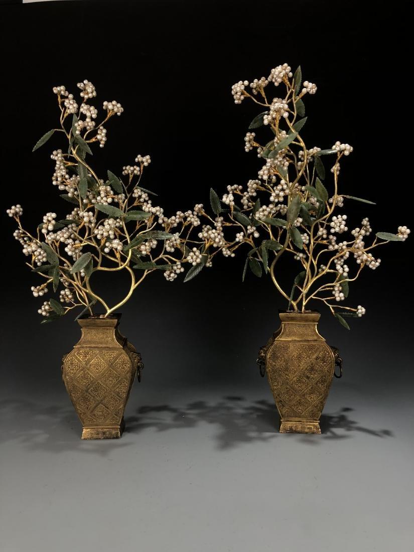 Pair Of Gilt-Bronze Jardinieres With Jadeite And Pearls