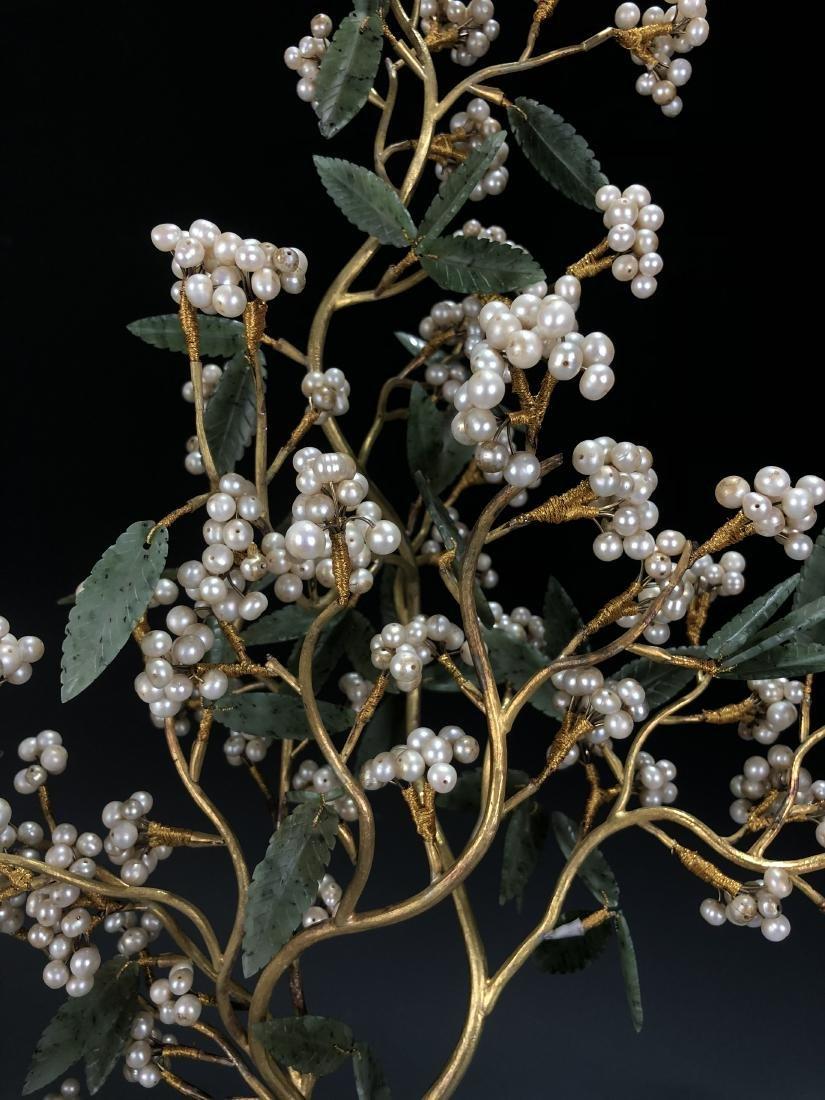 Pair Of Gilt-Bronze Jardinieres With Jadeite And Pearls - 2